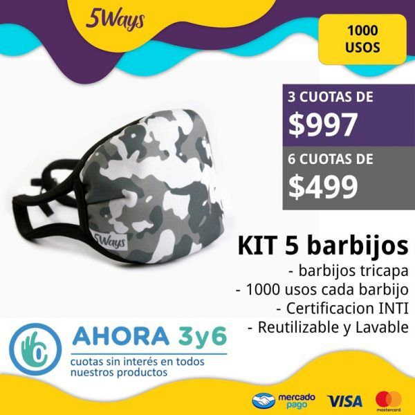 KIT 5 barbijos